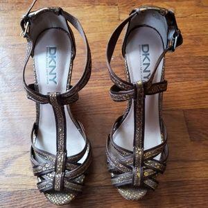 DKNY Brown & Gold Wedge Heel Sandals 7.5